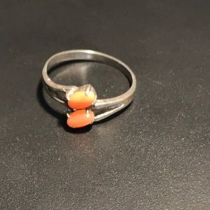 925 sterling and coral size 6.25 ring